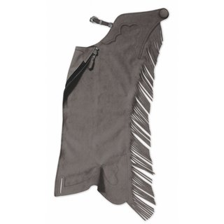 Ultrasuede Fringed Show Chaps Charcoal