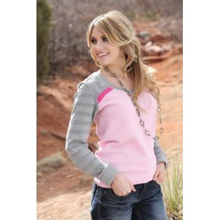 Cotton Thermal Longsleeve V-Neck Pink